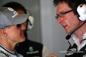 Michael Schumacher, Mercedes GP, Andrew Shovlin, Mercedes GP, Senior Race Engineer to Michael Schumacher