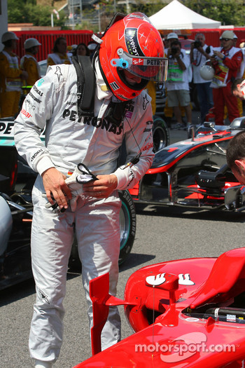Michael Schumacher, Mercedes GP looks at the Ferrari