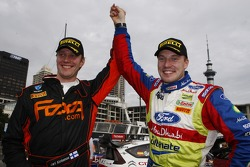 Winner Jari-Matti Latvala celebrates with Jari Ketomaa