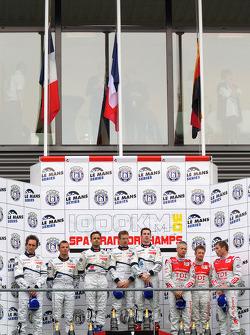 LMP1 podium: class and overall winners Pedro Lamy, Sébastien Bourdais and Simon Pagenaud, second place Franck Montagny, Stéphane Sarrazin and Nicolas Minassian, third place Rinaldo Capello, Tom Kristensen and Allan McNish