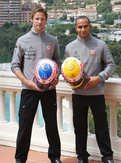 Jenson Button, McLaren Mercedes, Lewis Hamilton, McLaren Mercedes with Monaco edition helmets with Steinmetz Diamonds
