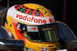 Lewis Hamilton, McLaren Mercedes with a new roulette helmet design