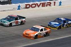 Joey Logano, Joe Gibbs Racing Toyota, Dale Earnhardt Jr., Hendrick Motorsports Chevrolet and Kurt Busch, Penske Racing Dodge