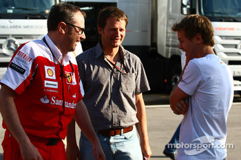 Stefano Domenicali Ferrari General Director with Sebastian Vettel, Red Bull Racing