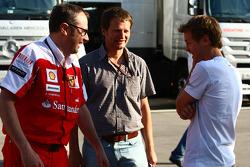 Stefano Domenicali Ferrari General Director with Sebastian Vettel, Red Bull Racing
