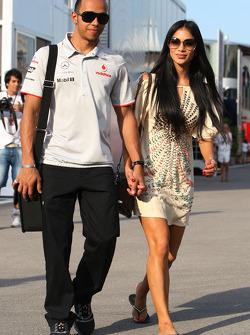 Lewis Hamilton, McLaren Mercedes, Nicole Scherzinger, Singer in the Pussycat Dolls and girlfriend of Lewis Hamilton
