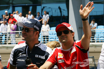 Driver parade Rubens Barrichello, Williams F1 Team and Felipe Massa, Scuderia Ferrari