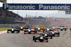 Race start, Mark Webber, Red Bull Racing leads Sebastian Vettel, Red Bull Racing