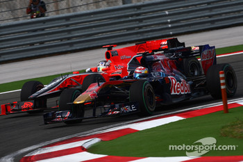 Timo Glock, Virgin Racing and Sebastien Buemi, Scuderia Toro Rosso