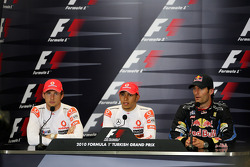 Jenson Button, McLaren Mercedes, Lewis Hamilton, McLaren Mercedes, Mark Webber, Red Bull Racing