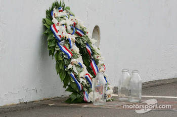 The winner's wreath & the empty jugs of milk sit on the yard of bricks at the Indianapolis Motor Speedway