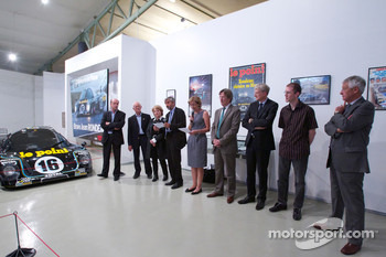 Ceremony to commemorate Jean Rondeau and Jean-Pierre Jaussaud 30th anniversary in the 1980 24 Hours of Le Mans: Jean-Pierre Jaussaud and guests on stage