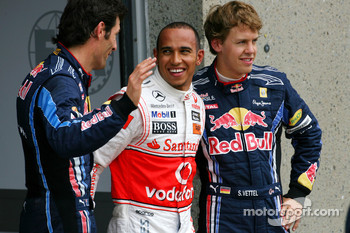 Sebastian Vettel, Red Bull Racing, Lewis Hamilton, McLaren Mercedes and Mark Webber, Red Bull Racing
