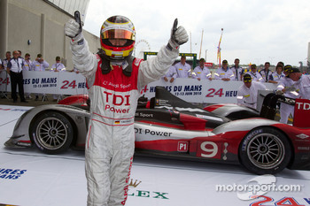 Race winner Timo Bernhard celebrates in Parc Fermé
