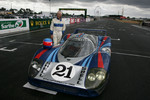 Gérard Larrousse after driving the ACO-owned restored Porsche 917 LH on the pit straight