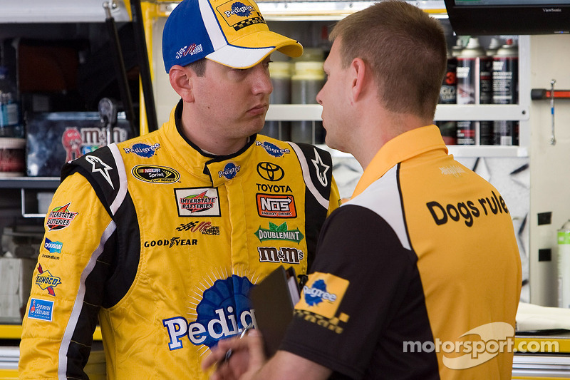 Kyle Busch, Joe Gibbs Racing Toyota and crew chief Dave Rogers