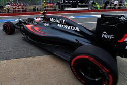 Jenson Button, McLaren MP4-31 leaves the pits