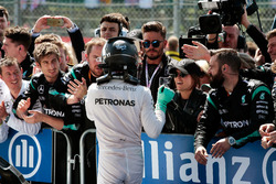 Nico Rosberg, Mercedes AMG F1 celebrates his second position with the team