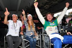 ADAC GT Masters Race 2 - Hans Joachim Stuck,  a guest and Ferdinand Stuck cheering