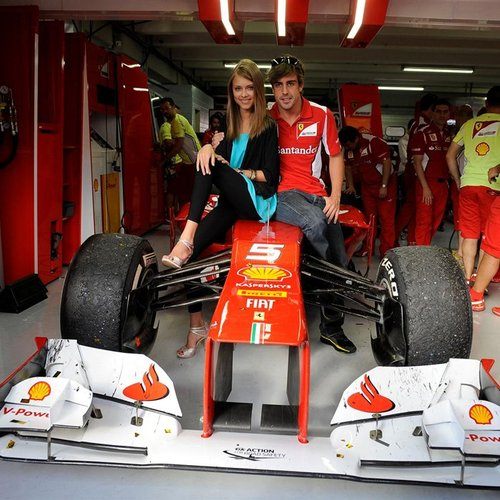 Dasha Kapustina and Fernando Alonso at the German Grand Prix