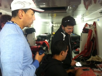 Carlos Gomez & Carlos Kauffmann with AGM engineer Travis Low