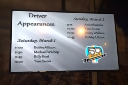 Memory Lane Driver Appearance Schedule