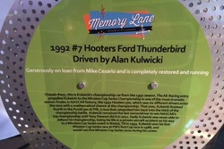Memory Lane sign board for the #7 Alan Kulwicki Hooters Thunderbird
