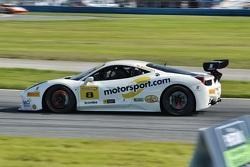 The #8 Motorsport.com Ferrari 458 of Ferrari of Ft. Lauderdale braking into turning 6 at Daytona.