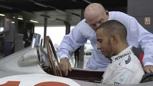 Lewis and Sir Stirling Moss at Silverstone