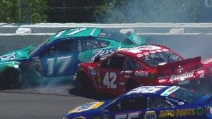 NASCAR Juan Pablo Montoya and Ricky Stenhouse Jr. crash in the first lap at Pocono | 2013