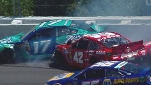 NASCAR Juan Pablo Montoya and Ricky Stenhouse Jr. crash in the first lap at Pocono   2013