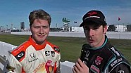 Simon Pagenaud interviews Josef Newgarden after the Grand Prix of St. Petersburg.