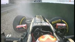 Pastor Maldonado crashes at pit entry during FP2 for the 2014 Chinese GP
