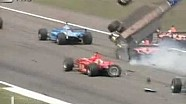 Luciano Burti huge crash at the start of the German GP in 2001