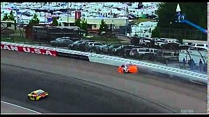 Larson slams wall, catches fire - Michigan 2014
