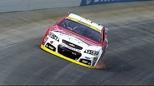 Harvick blows a tire while leading