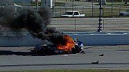 Colin Braun crashes into the wall and catches fire shortly after losing the lead at the Daytona 24