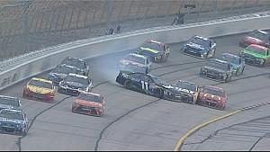 Hamlin spins and collects several drivers