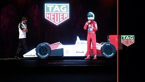 Alonso on stage with Senna hologram