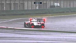 Mark Webber in the Porsche #17 takes a lap on fourth placed Audi #8 driven by Loic Duval