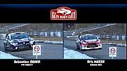 Rally Monte Carlo Kris Meeke vs Sébastien Ogier driving style comparison
