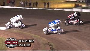 Highlights: World of Outlaws Craftsman Sprint Cars Ocean Speedway April 1st, 2016