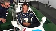 Daniel Ricciardo talks to Zak Brown after Williams FW07 run