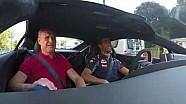 Daniel Ricciardo and David Coulthard head to work in an Aston Martin