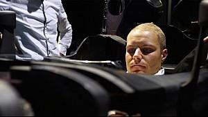 Bottas en su primer día de trabajo en Mercedes