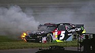NASCAR Brad Sweet hits the wall and catches fire | Kentucky (2013)
