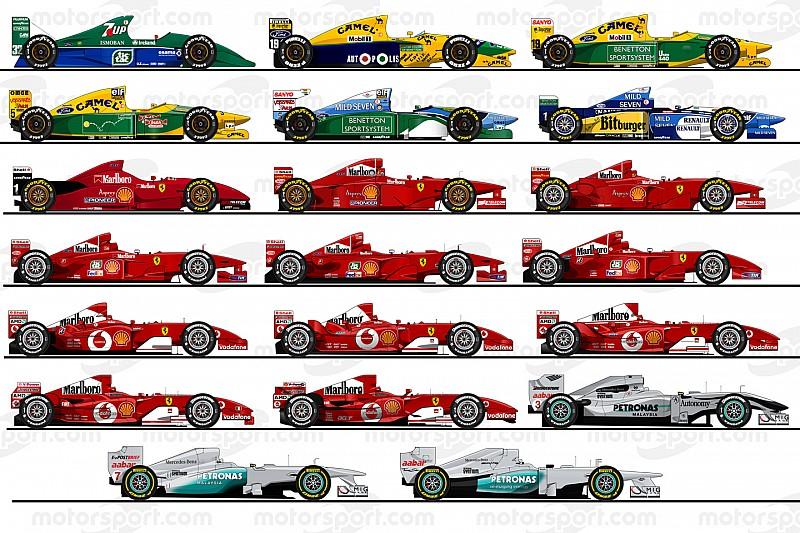 Michael Schumacher 20 F1-es autója: Jordan, Benetton, Ferrari, Mercedes