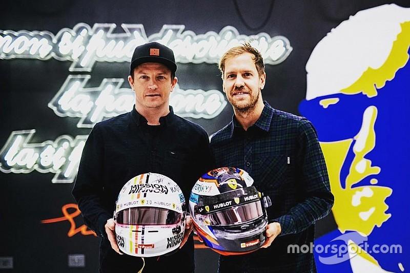Scambio di caschi tra Kimi e Vettel: