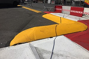 Aggressive new kerb fitted at Monaco's Swimming Pool