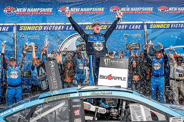 NASCAR Cup Race report Kevin Harvick bumps Kyle Busch out of way to win New Hampshire